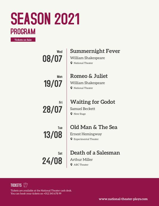 Program Events Calendar Flyer template