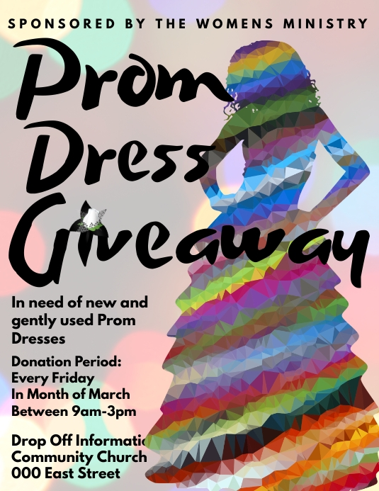 Prom dress drive giveaway fundraiser Pamflet (Letter AS) template