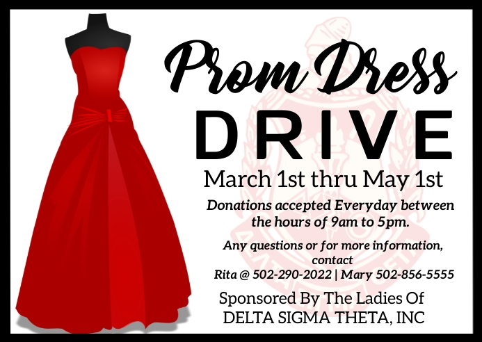 Prom dress drive giveaway sorority fundraiser Postkort template