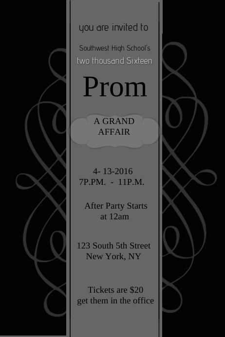 prom invite template postermywall