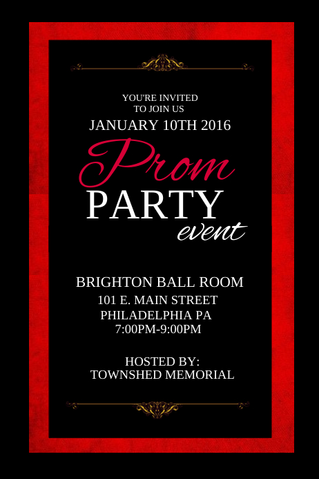 prom party template postermywall