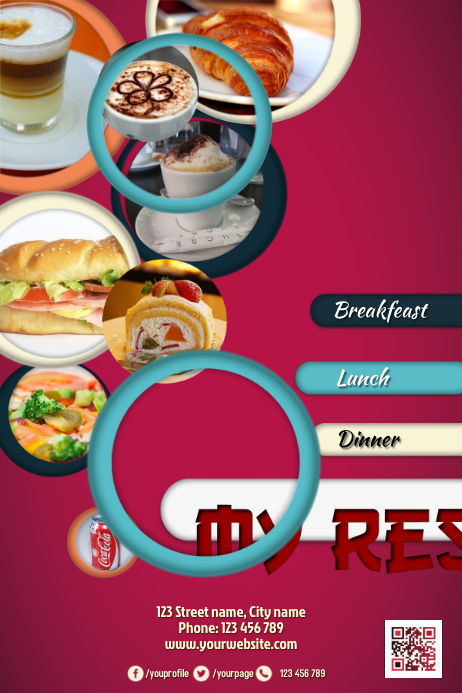 promotion flyer with photo placeholders great for restaurant