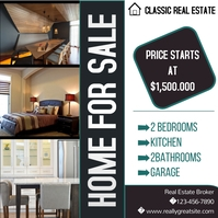 Property for sale flyer สี่เหลี่ยมจัตุรัส (1:1) template