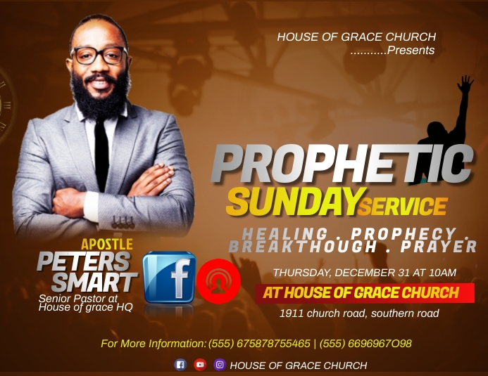 PROPHETIC SUNDAY SERVICE Pamflet (Letter AS) template