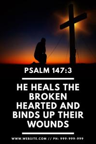 Psalm 147:3 Poster Plakat template