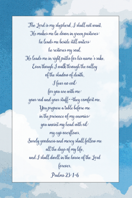 Psalms Prayer Christian memorial funeral poster The Lord is