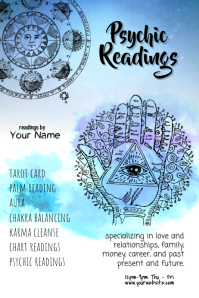 psychic tarot reading poster template