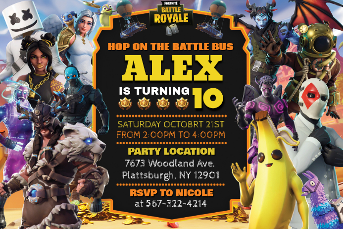 Fortnite Birthday Invite