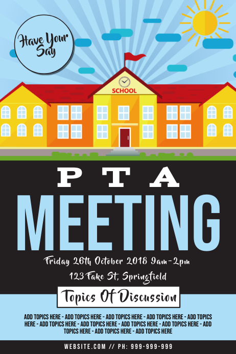 PTA Meeting Poster โปสเตอร์ template