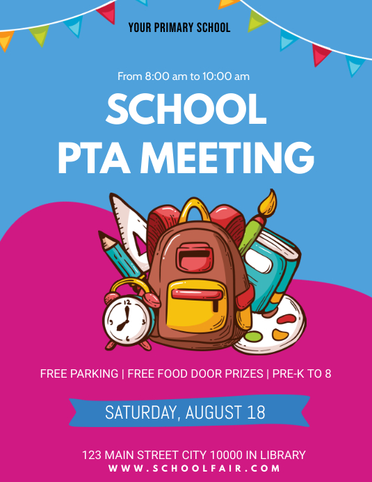 PTA School Drive Meeting Flyer Pamflet (Letter AS) template