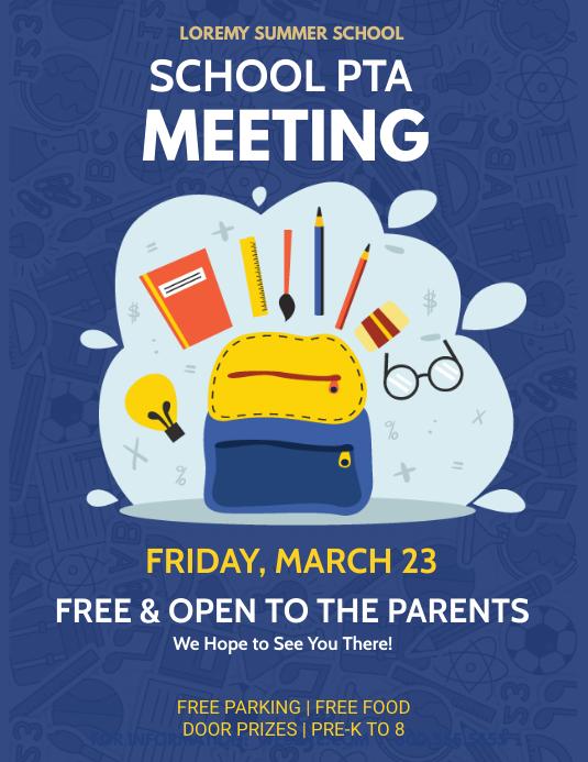pta school meeting flyer template