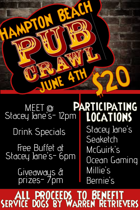 Pub Crawl Bar Flyer  Benefit Flyer Templates