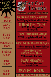 Pub Daily Specials - Fat Cat Tavern