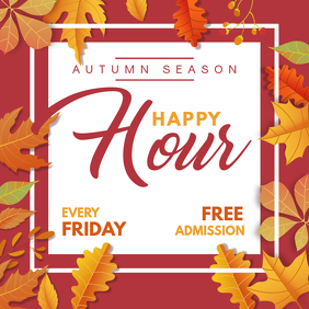 Pub Happy Hour for Autumn Square Ad Template