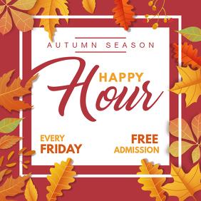 Pub Happy Hour for Autumn Square Ad Template