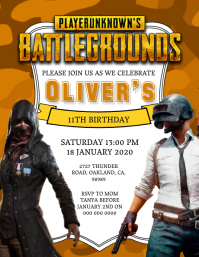 PubG Birthday invitation Template