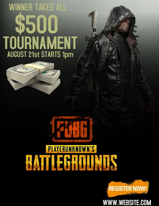 PUBG TOURNAMENT TEMPLATE Flyer (Letter pang-US)