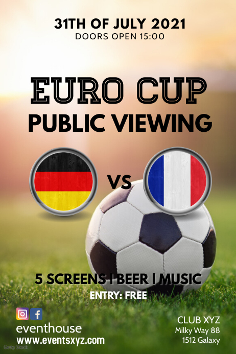 Public Viewing Event Soccer Euro Cup Ad BAr