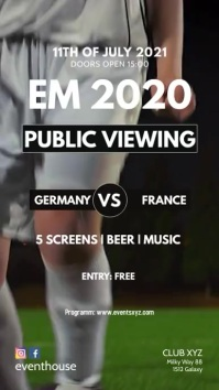 Public Viewing soccer Football EM Euro cup ad Instagram na Kuwento template