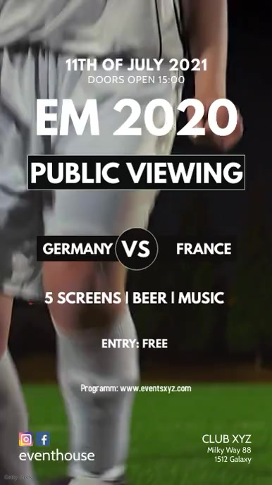 Public Viewing soccer Football EM Euro cup ad Instagram-verhaal template