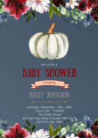 Pumpkin baby shower elephant invitation A6 template