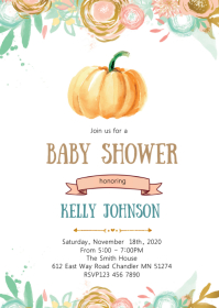 Pumpkin baby shower invitation A6 template