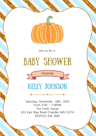Pumpkin baby shower party invitation A6 template