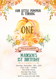 Pumpkin birthday party invitation A6 template