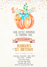 Pumpkin birthday party invitation