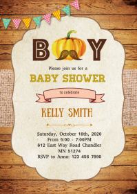 Pumpkin boy baby shower invitation