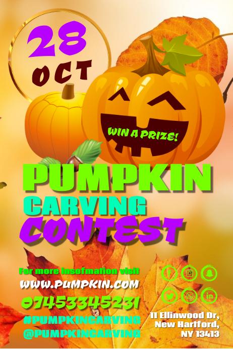 pumpkin carving contest Cartaz template