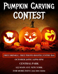 Pumpkin Carving Contest Flyer Template Poster/pannello