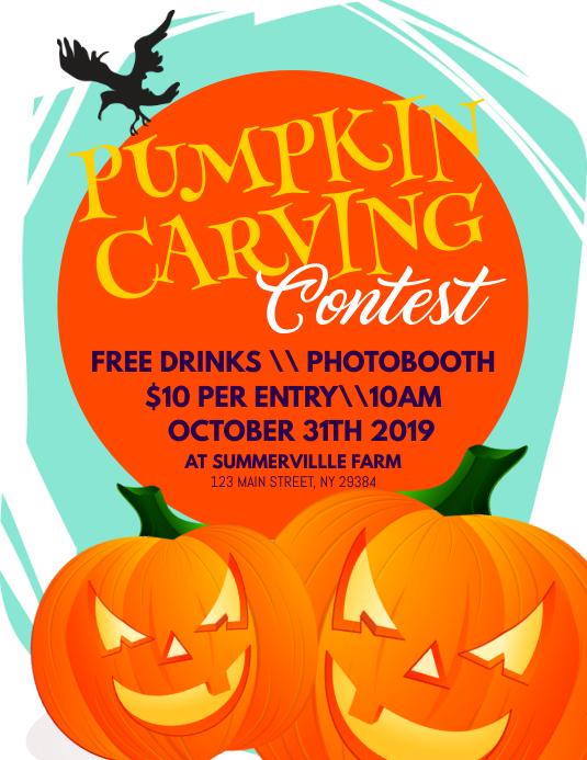 Pumpkin Carving Contest Flyer Løbeseddel (US Letter) template