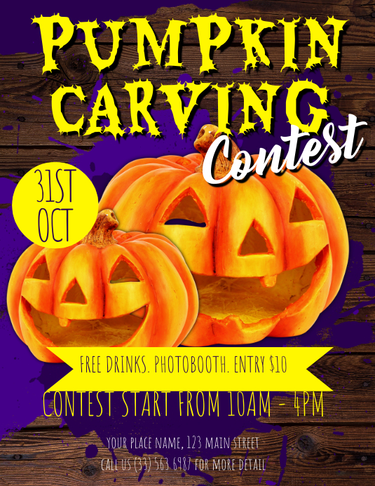Pumpkin Carving Contest Flyer Template Postermywall