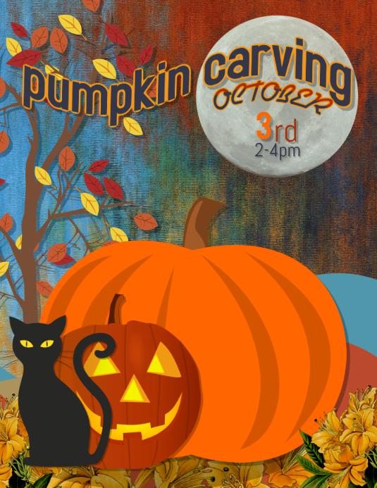 pumpkin carving Halloween party flyer