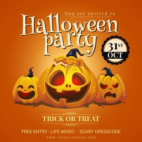 Pumpkin Carving Halloween Party Invite Animat Instagram Post template