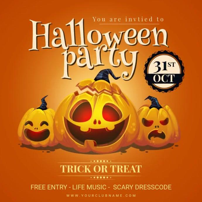 Pumpkin Carving Halloween Party Invite Animat Instagram 帖子 template