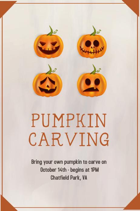Customizable design templates for pumpkin postermywall pumpkin carving poster thanksgiving flyer template spiritdancerdesigns Choice Image