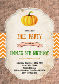Pumpkin fall birthday party invitation