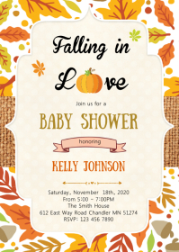 Pumpkin fall in love baby shower invitation A6 template