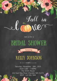 Pumpkin fall in love party invitation