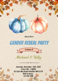 Pumpkin gender reveal card A6 template