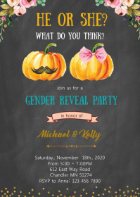 Pumpkin gender reveal party invitation A6 template