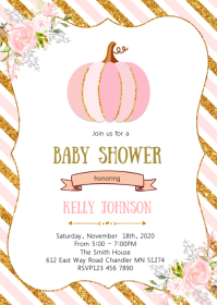 Pumpkin girl baby shower party invitation A6 template