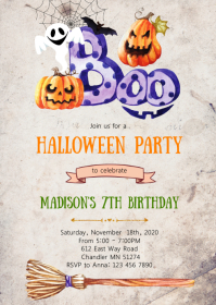 Pumpkin halloween birthday party invitation A6 template