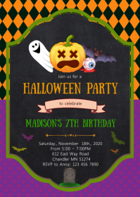 Pumpkin halloween birthday party invitation