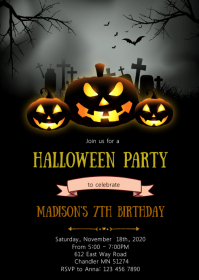 Pumpkin halloween birthday party invitation