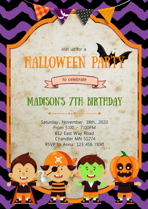 Pumpkin halloween birthday party invitation A6 template