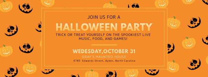 Pumpkin Halloween Birthday Party Invitation Facebook Cover