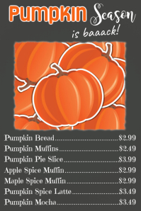 Pumpkin Menu Poster Template